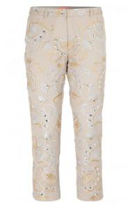 pantalon avec broderie, fils et strass