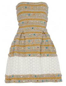 robe bustier gaine en fil métalique et strass