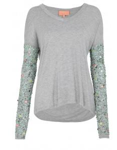 tee-shirt, manches brodées perles et sequins